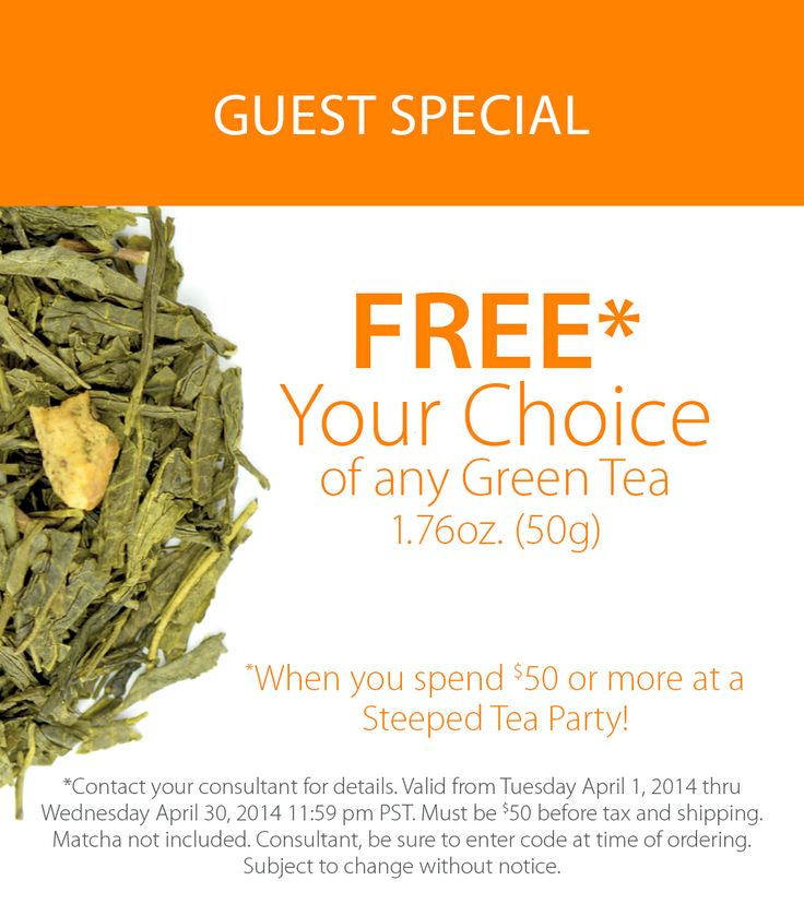 Steeped Tea is offering a Guest Special. Receive a FREE green tea when you spend over $50 or more.