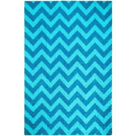 Your Zone Chevron Shag Rug, Turquoise, Blue