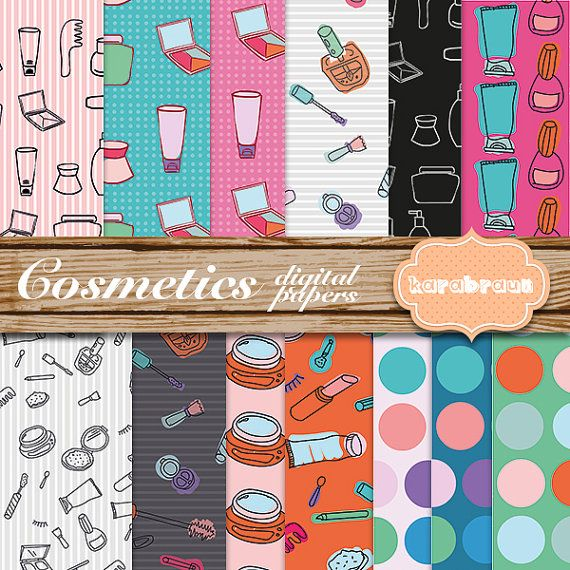 Cosmetics digital papers scrapbooking party supplies by Butterland