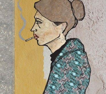 Smoking Girl, portrait illustration