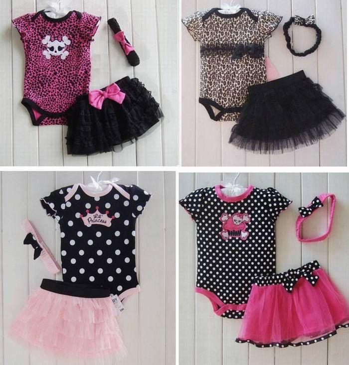 Детские наборы 2016 новый горячий детская одежда детские комбинезоны одежда для новорожденных Детские Летние Ползунки + оголовье + юбки
