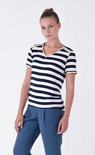 Super versatile stripe tee with gold vegan leather detailing  Achievers Tee by Desiree | Buy Online