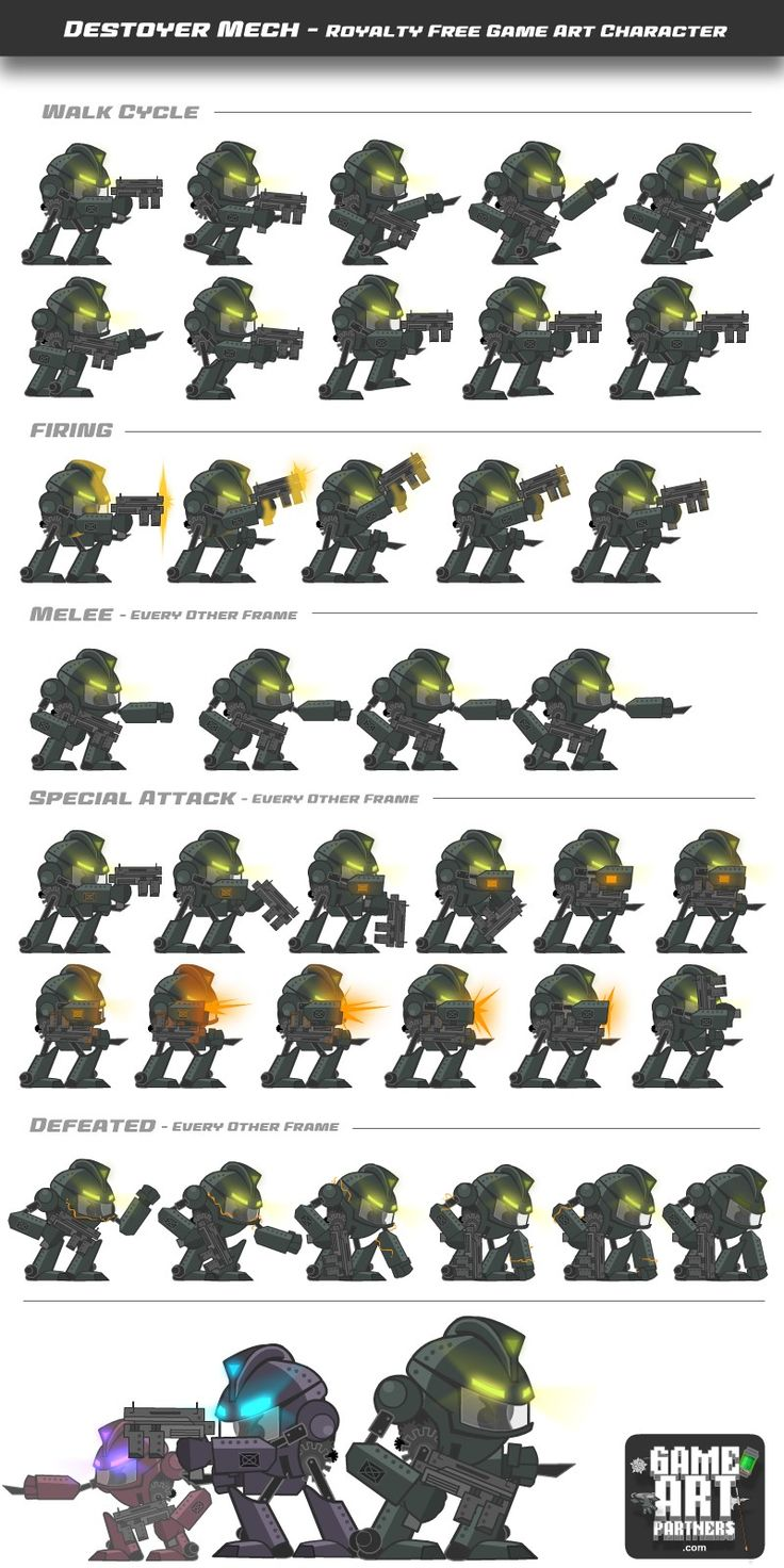 Royalty free game art character. Animated examples at