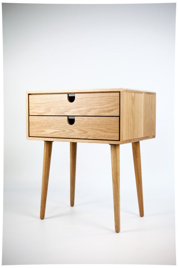 mid century modern solid oak nightstand with double drawers chene massif tables de nuit et massif. Black Bedroom Furniture Sets. Home Design Ideas