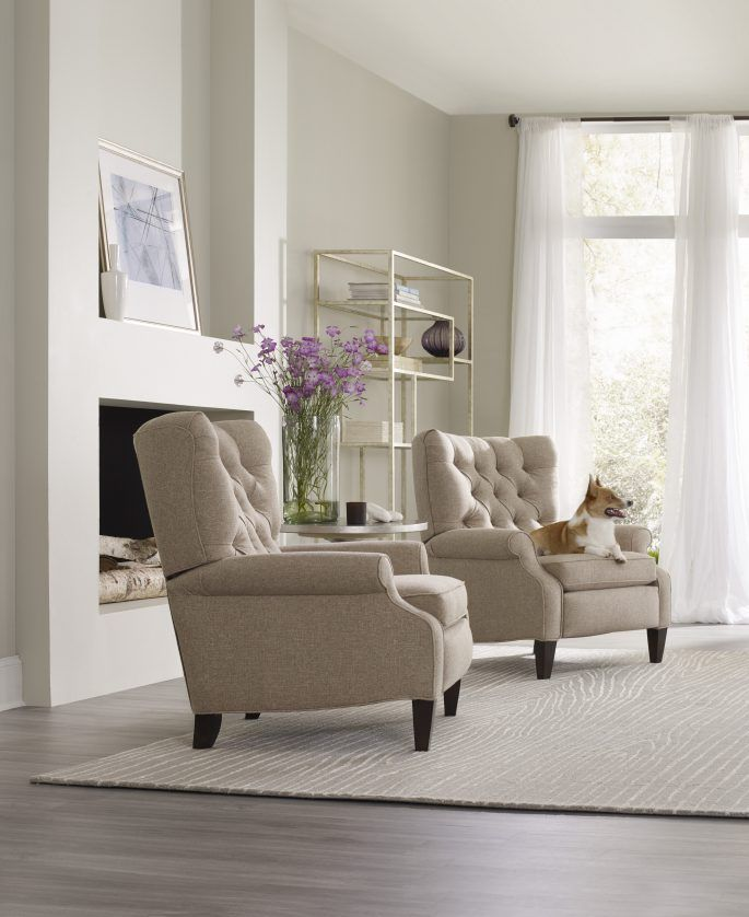 The Annick Recliner from #SamMooreFurniture is a comfy take on a classic wing chair found in English homes. #wingchair #furniture