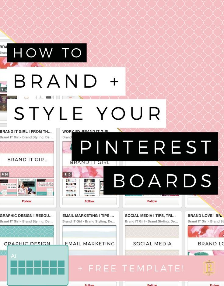 There is nothing better than a branded set of Pinterest boards, it literally makes me smile to see people that have carried over their business or blog branding and styled their Pinterest boards to match the brand identity that they have so carefully crafted! Find out HOW to brand and style your Pinterest Boards on the blog today, PLUS download the FREE illustrator template for creating your own board covers!