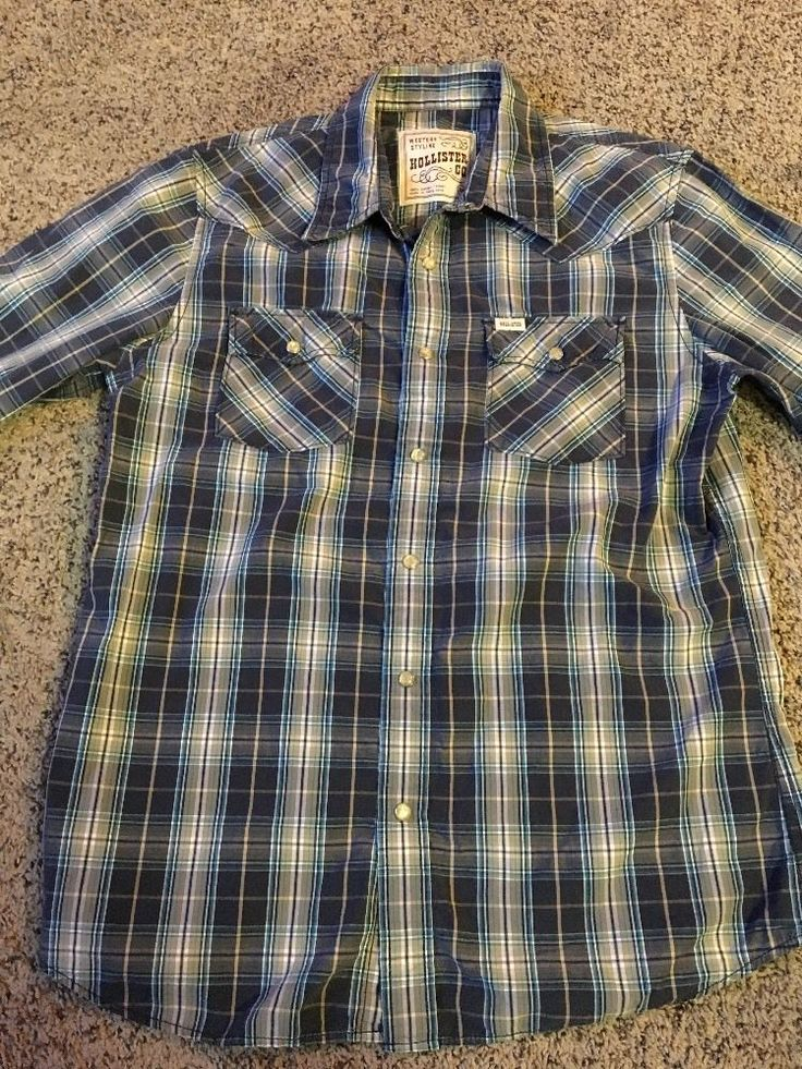 Hollister Western Shirt Snap Front Navy Tan Plaid Sz M Gently Used  | eBay