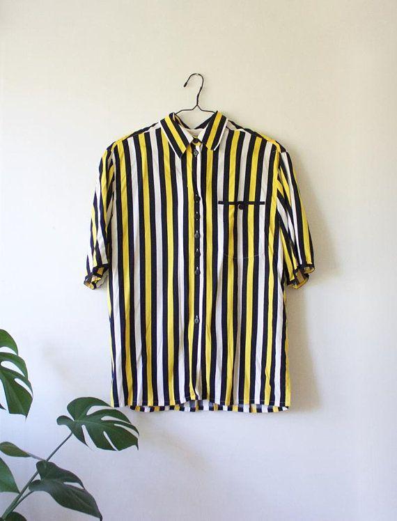026b4b19b Vintage Women's Vertical Striped Yellow Black White Blouse // Short ...