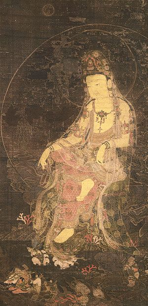 Water-Moon Avalokiteshvara, Goryeo dynasty (918–1392), first half of the 14th century Unidentified artist (first half of the 14th century) Korea Hanging scroll; ink and color on silk
