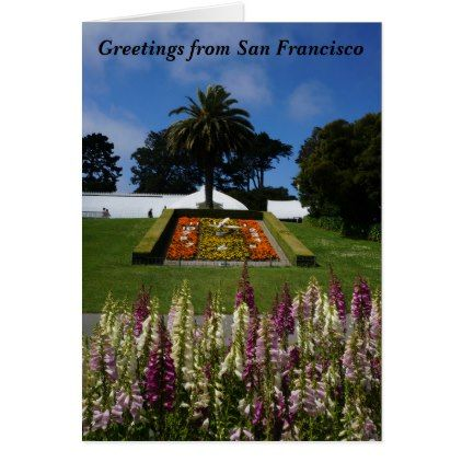 Greetings from San Francisco Floral Clock Card - purple floral style gifts flower flowers diy customize unique