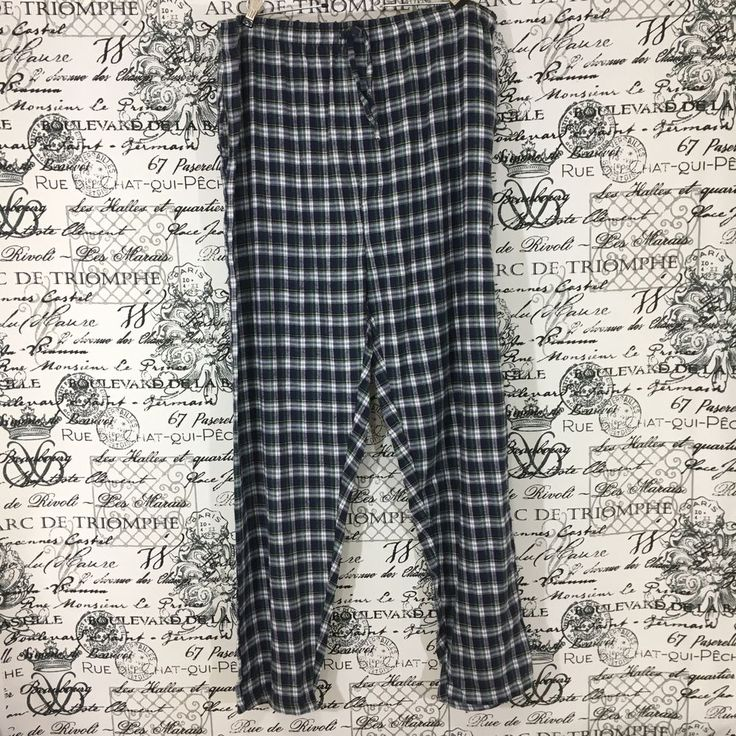 Jos A Bank Blue/Green/White Plaid Pajamas / Lounge Pants Size XXL - NWT #JosABank #LoungePants
