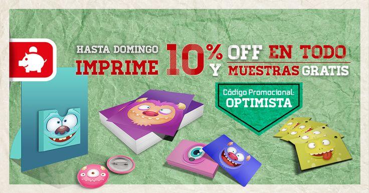 ¡Decídete! Hasta el domingo consigue un 10 % de DTO. en TODOS nuestros productos usando el Código: OPTIMISTA #imprentaonline #promo www.optimprint.com