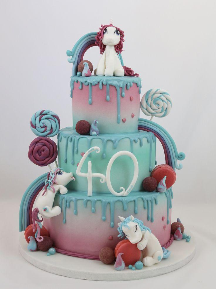 Drip Cake Drippy Torte Einhorn Unicorn Macarons Fondant Figur Rainbow Regenbogen – Motivtorten & Figuren