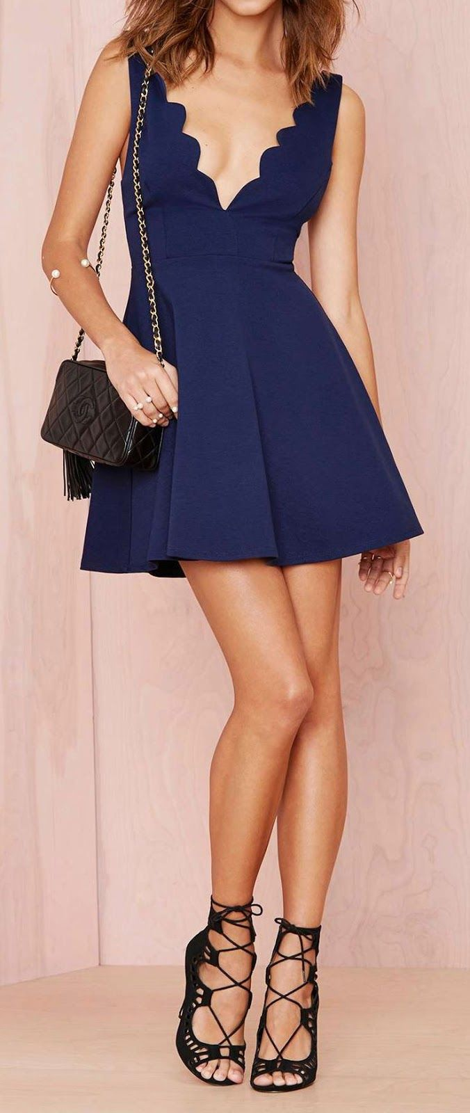 Scalloped plunge dress