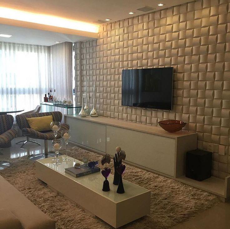Sala Com Painel 3D Para TV Por @arqmulti #living #homedecor #interiordesign  # Part 82