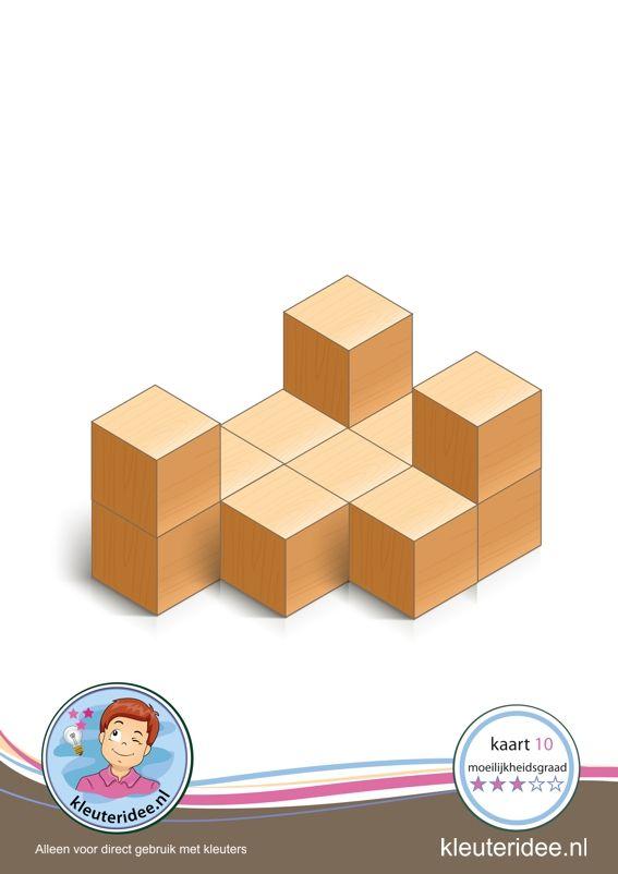 Bouwkaart 10 moeilijkheidsgraad 3 voor kleuters, kleuteridee, Preschool card building blocks with toddlers 10, difficulty 3, free printable