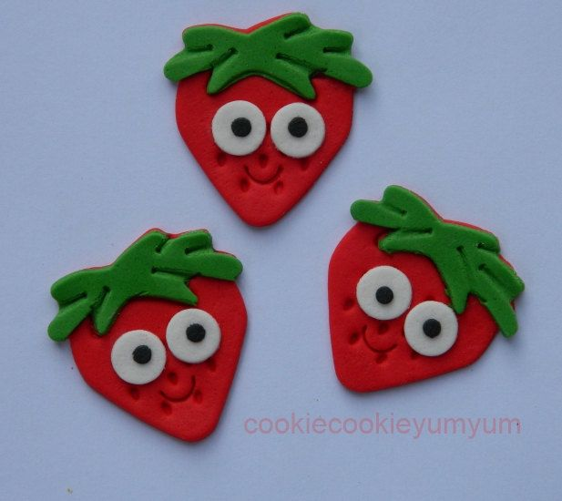 12 edible STRAWBERRY WITH EYES shortcake cake decoration cupcake topper decoration party wedding anniversary birthday engagement valentine by cookiecookieyumyum on Etsy
