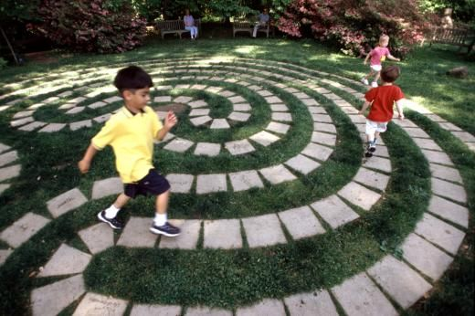Labyrinth pathway in the garden for children to play and imagine all sorts of games. A collection of assorted pavers, bricks or old stones could be rolled with paving paint so they all match and artwork added. So many possibilities for even a small version of this idea. | The Micro Gardener
