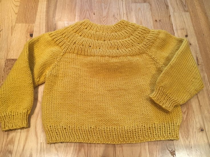 Mustard for Brynn. Size 3-4 but knit on larger 4.5 needles so turned out much more oversize than I thought.