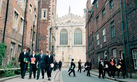 Eton school boys make their way to class. Photograph: Peter Dench/Corbis