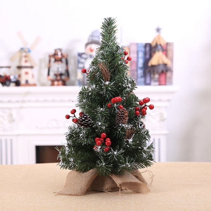 40cm Mini Artificial Christmas Tree With Pine Cone Red Berries Snow Decor Christmastree Artif Pine Cone Christmas Tree Christmas Tree Mini Christmas Tree