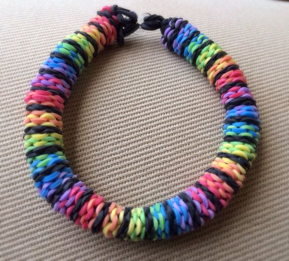 Rainbow Loom - Handmade Rainbow Striped 6 Pin Inverted ...