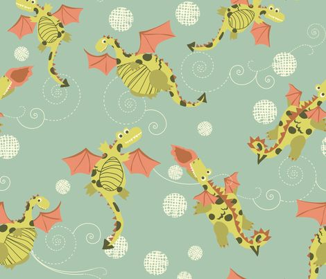 Sky Dragons fabric by marlene_pixley on Spoonflower - custom fabric.    For Sophie- she loves dragons