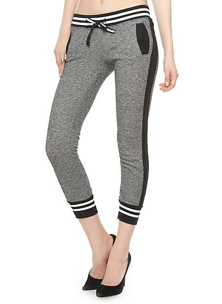 Rainbow Shops Marled Cropped Jogger Pants with Varsity Stripe Cuffs $12.97