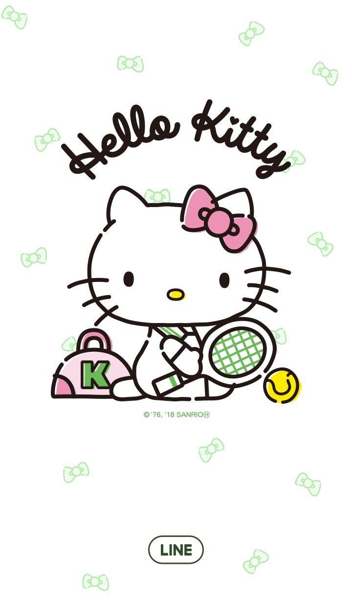 Hello Kitty Playing Tennis [Line Wallpaper]