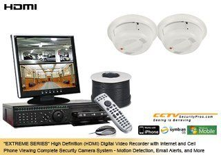 EXTREME SERIES Complete High Definition (HDMI) 2 Camera Color Indoor Sony Super HAD Ultra High Resolution Hidden Smoke Detector Security Camera System by CCTVSecurityPros. $999.99. Our EXTREME Series is our best security camera system series. This system comes with a commercial business class G4 H.264 Digital Video Recorder with 3x Longer Storage Capacity than the old MPEG and JPEG DVRs. It is also furnished with some of our finest cameras in terms of resolution ...