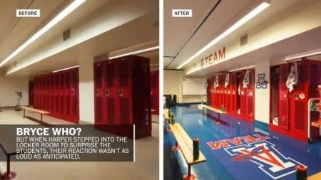 Bryce Harper Paid A Visit To Anacostia Unveil Fully Renovated Locker Room Much The Surprise And Delight Of Indians Football Baseball Players