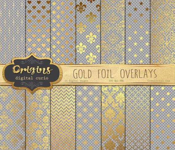 Gold Foil Digital Overlays for Digital Paper Scrapbooking