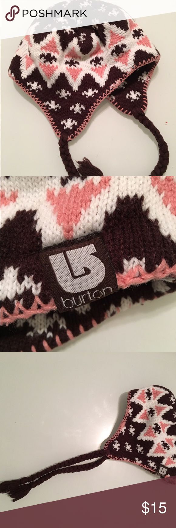 Burton snow beanie Burton ski bunny hat/ beanie. Brown, white and  white pattern. Excellent used condition. Accessories Hats