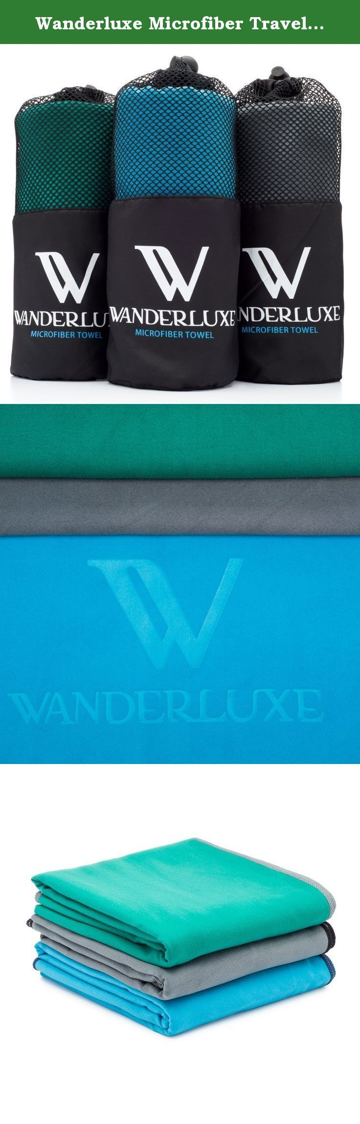 """Wanderluxe Microfiber Travel Towel XL / Swimming Towel Set   Super Absorbent and Fast Drying   Bath Towel (60"""" X 28"""") with Hand Towel & Storage Bag! Perfect for Beach, Gym, Camping, Yoga. Why settle for cheap, skimpy towels? Our premium travel-&-sport towels look and feel ultra-luxe. Plus, they absorb better and dry faster than all the other towels we tested. The Secret's the Premium Microfiber This blissfully soft fabric is sueded for super absorbency. It feels awesome next to your skin!..."""
