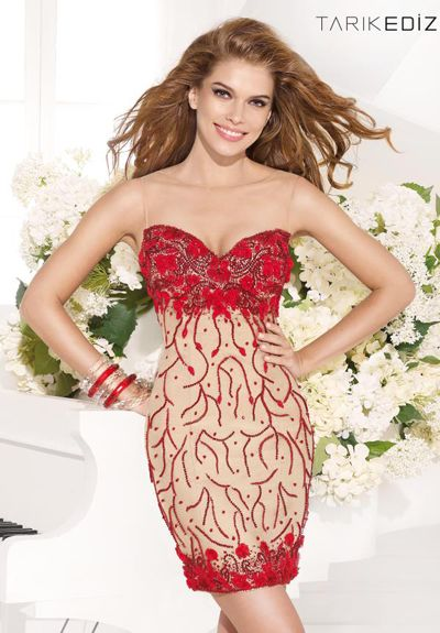 Tarik Ediz 92356 - $820.00. lace. nude. fit. embroidery. floral accent. short. red. dress