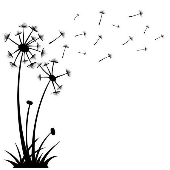 dandelions blowing the wind coloring pages | Dandelions Blowing in the Wind, vinyl wall art, vinyl ...