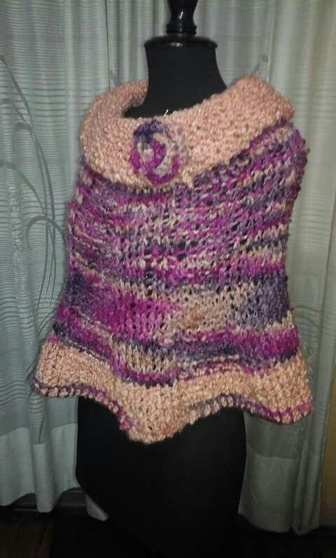 Poncho tejido en lana merino