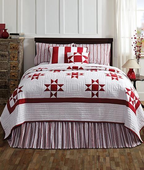 VHC Brands, Inc. - Carolina King Quilt Bundle Plus (Solid Red Bed Skirt) #