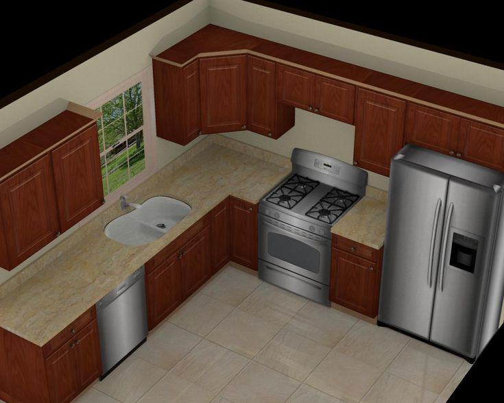 Kitchen: Great 10x10 3D Kitchen Design With Brown Cabinet, Beige L ..