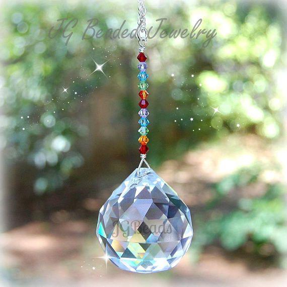 Large #Rainbow #Prism #Crystal #Suncatcher #Hanging #Window #glass #ball