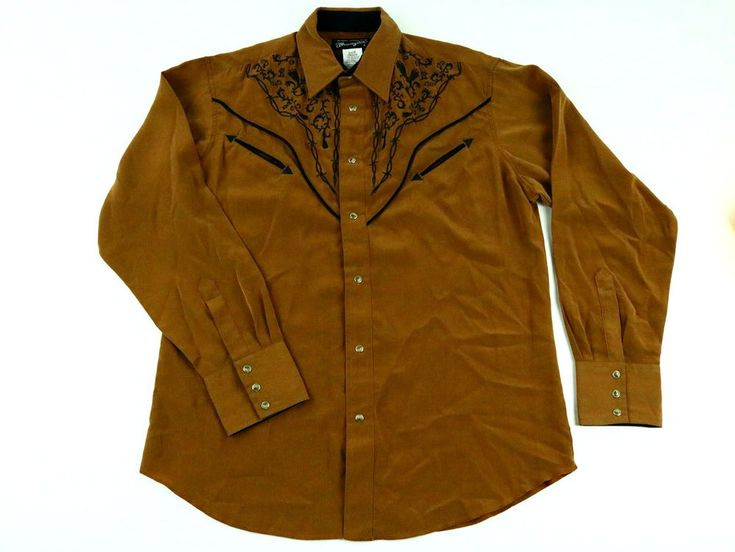 Wrangler Western Men's Brown Shirt Long Sleeve Rodeo Embroidered Snap Buttons L #Wrangler #Western