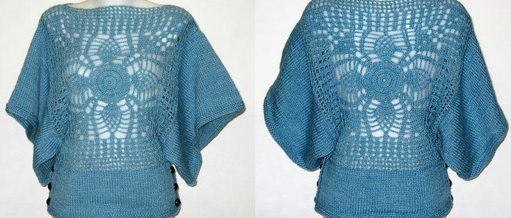 Poncho  Com Painel Em Crochet - 65% lã, 35% alpaca