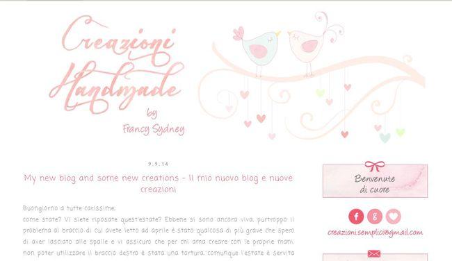 Blog design per Creazioni Handmade by Francy Sydney - http://creazioni-handmade.blogspot.it/ Read more on http://cecrisicecrisi.blogspot.it/2014/09/nuovi-progetti-di-restyling-linky112.html