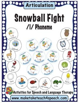 Who said you can't have a snowball fight at school?  Your students will love practicing the /l/ sound with the Make, Take & Teach 4 Speech Snowball Fight Game.  When you download this activity you'll receive 118 snowballs with pictures containing the /l/ phoneme in all word positions and in blends.