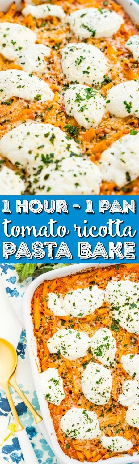 This Ricotta Pasta Bake is an easy vegetarian recipe made in just one pan. Only a 5-minute prep time and an hour of baking stand between you and this delicious dinner that's loaded with tomatoes, garlic, cream, Parmesan, ricotta cheese, and pasta!
