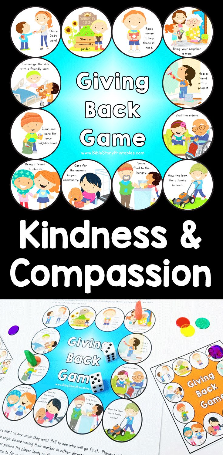 Kindness and Compassion game for K-5 students. This Biblically based game teaches children to Give Thanks by Giving Back to their community.  Students roll and move around the board, collecting 12 different acts of kindness.