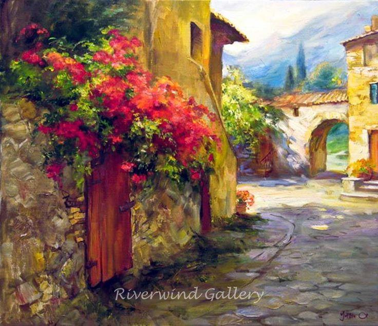 Paintings Of Cobblestone Paths : Sasha yutkin cobble stone path village painting