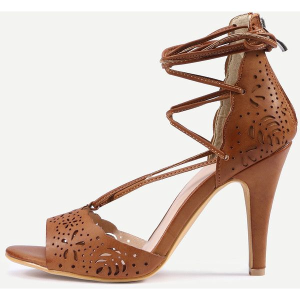 SheIn(sheinside) Laser-Cut Lace-Up Peep Toe D'orsay Sandals - Camel (63 ILS) ❤ liked on Polyvore featuring shoes, sandals, camel, high heeled footwear, lace-up sandals, d orsay shoes, stiletto high heel shoes and peep toe shoes
