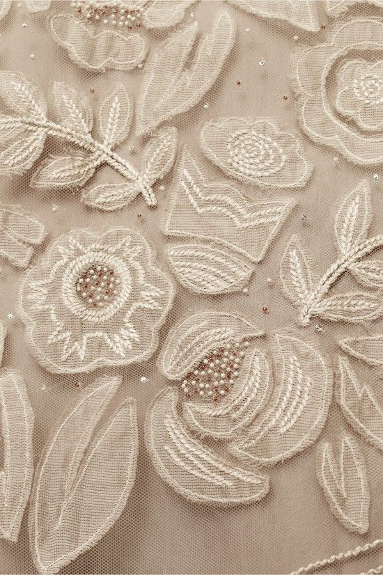 applique on net with tone on tone embroidery and beading