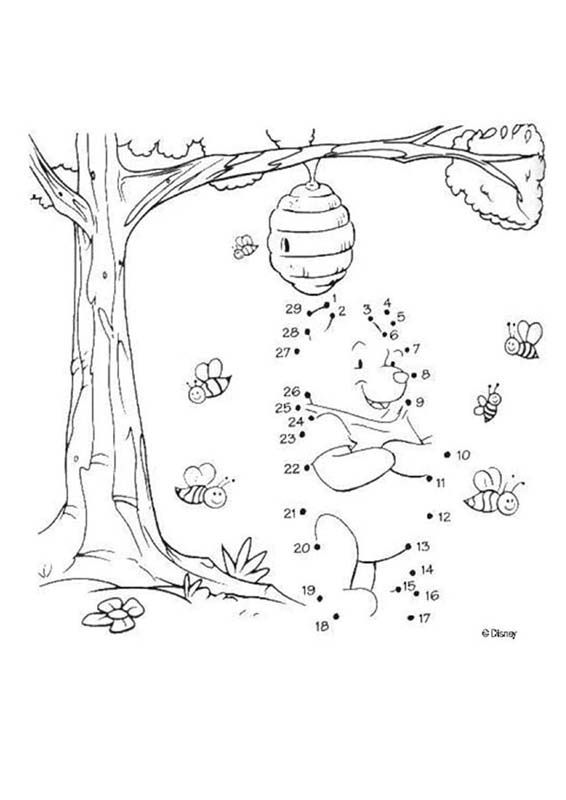 Dot to dot: Winnie the Pooh with the bees printable connect the dots game